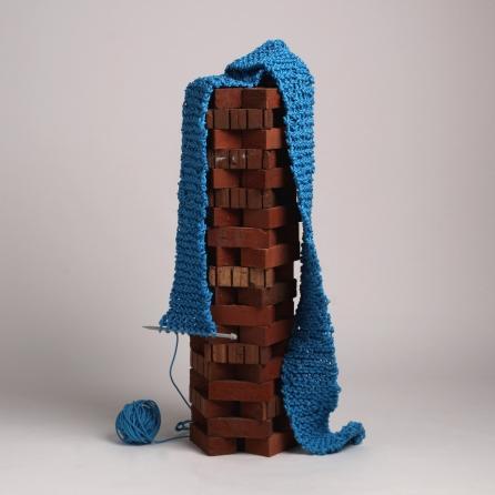 Built Like A Brick Shithouse, 2018 - Polypropylene rope, terracotta bricks, knitting needle.