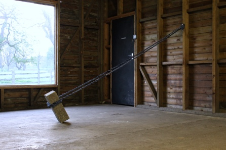 'Brace', 2019 - Concrete block, Denim rope.